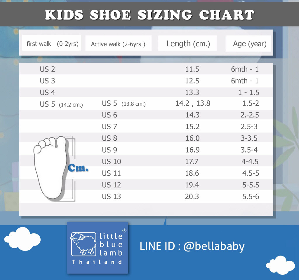 ตารางเทียบไซส์รองเท้า